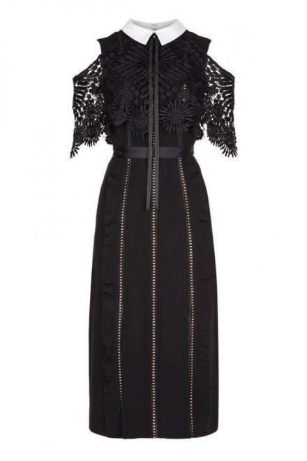 89895215d2f Чёрное платье с белым воротничком и кружевом - прокат и аренда в ...