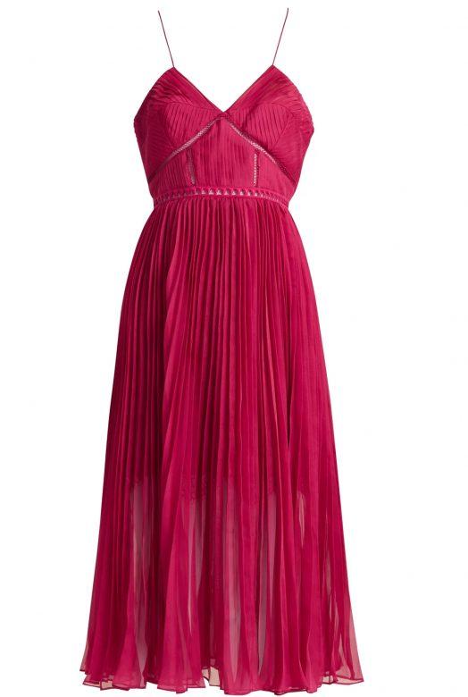 Карминовое платье с юбкой плиссе