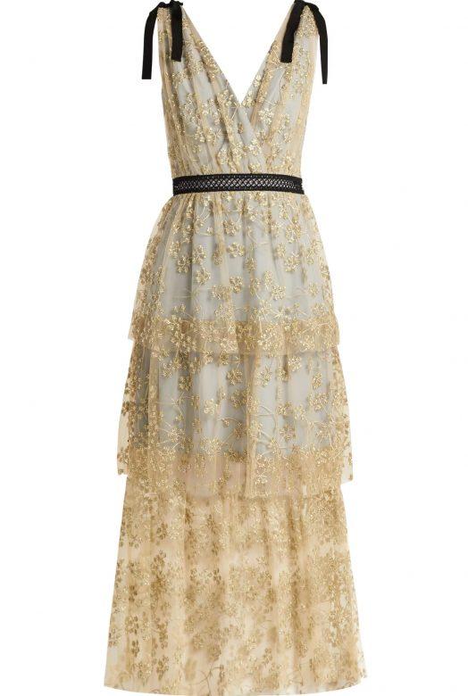 Полупрозрачное платье с вышивкой по тюлю