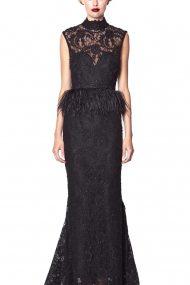 Вечернее платье с баской из перьев