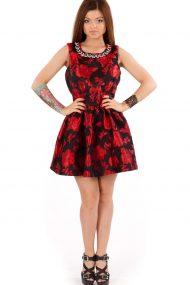 Красно-черно платье с кристаллами
