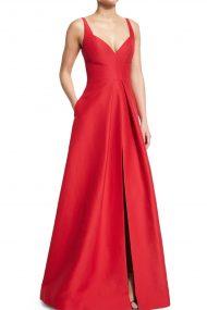 Карминовое платье с удерживающей форму юбкой