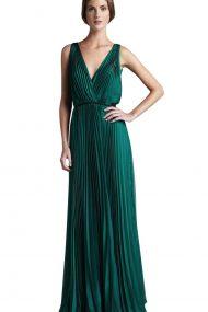 Изумрудное вечернее плиссированное платье