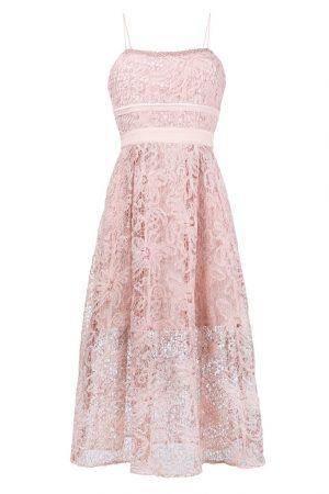 Розовое кружевное платье миди с талией ампир