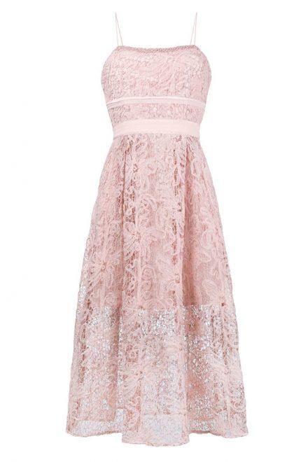 eed702c9730 Розовое кружевное платье миди с талией ампир - прокат и аренда в ...