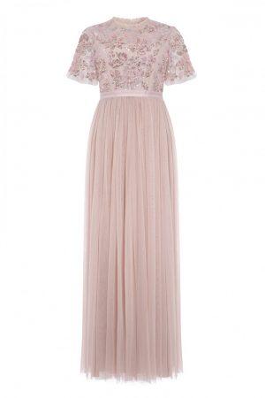 Вечернее платье в цвете розовый кварц