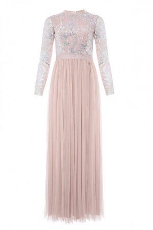 Нежно-розовое вечернее платье с длинным рукавом