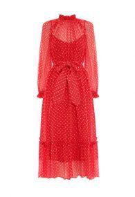 Шёлковое платье с принтом polka dot и длинным рукавом