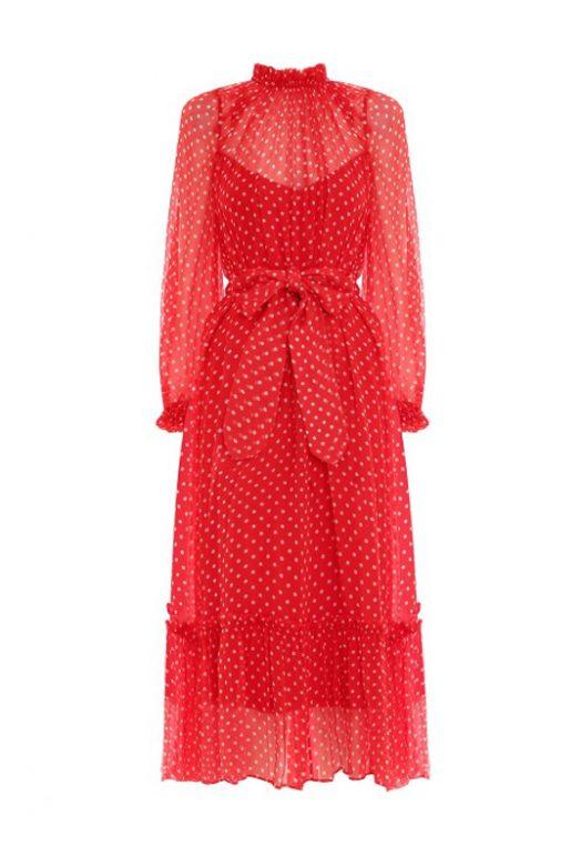 Шовкова сукня с принтом polka dot та довгим рукавом