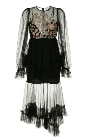Чёрное платье Beyond с контрастной вышивкой
