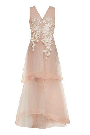Асимметричное пудровое платье с цветочной аппликацией