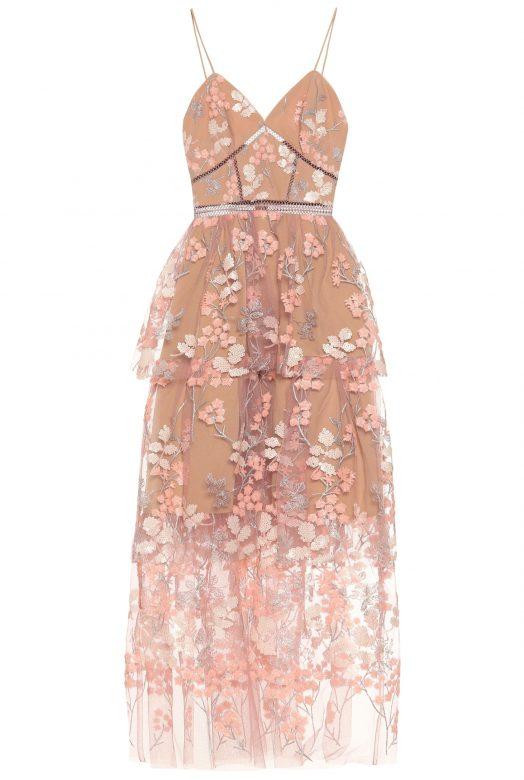 Ніжно-рожева сукня з квітковою вишивкою по тюлю