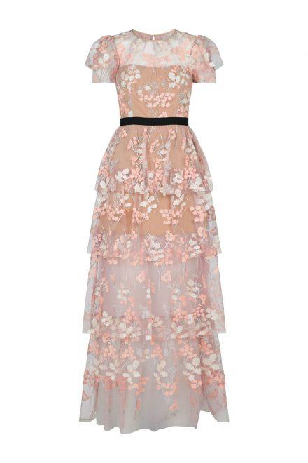 dcb46f108e0 Розовое платье с топом-бюстье и контрастным поясом - прокат и аренда ...