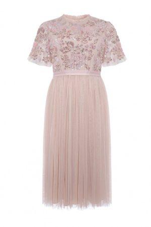 Коктейльное платье в цвете розовый кварц
