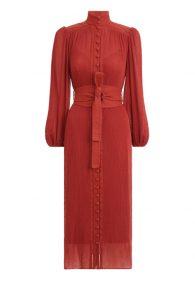 Плиссированное платье Espionage в оттенке спелого граната