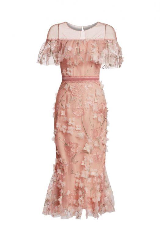 Ніжна коктейльна сукня з вишивкою та аплікацією