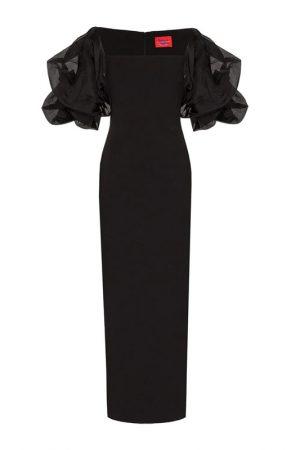 Чорна сукня-міді Ellice з акцентними рукавами