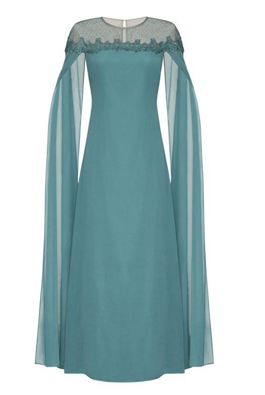 Бирюзовое платье-кейп с прозрачными рукавами