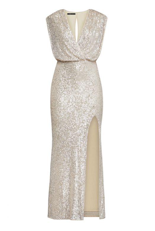 Мерцающее платье с высоким разрезом