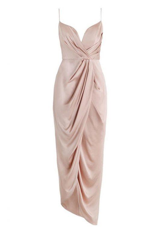 Асимметричное платье-миди цвета золотистого пиона