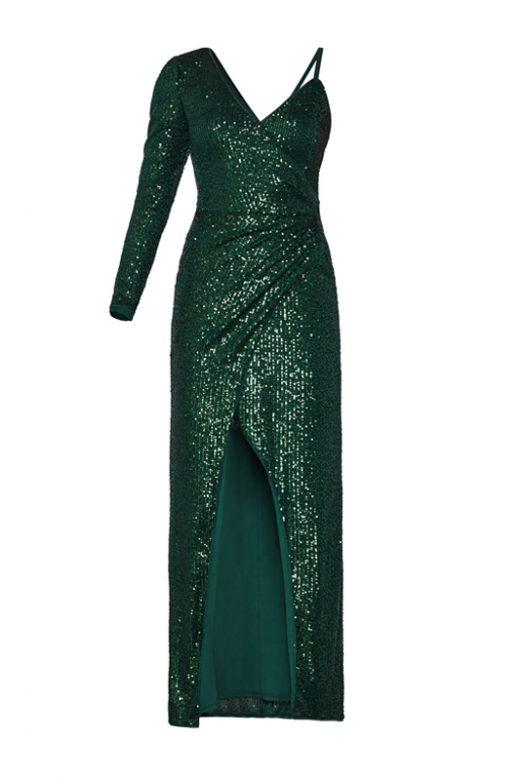 Малахитовое мерцающее асимметричное платье