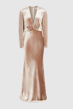 Бархатное пудровое платье Klara