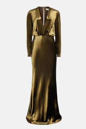 Оксамитова оливкова сукня Klara