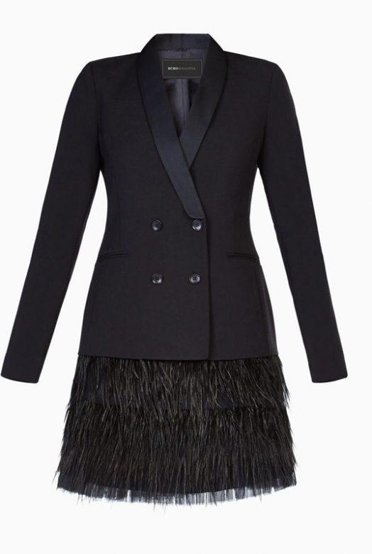 Платье-жакет Delphina с юбкой из перьев