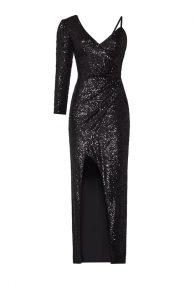 Чёрное асимметричное мерцающее платье