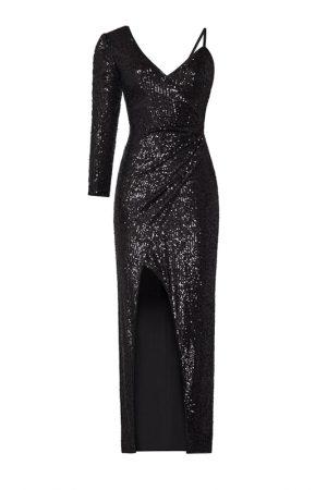 Чорна асиметрична мерехтлива сукня