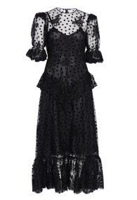 Чорна напівпрозора сукня з флок-напиленням polka dot