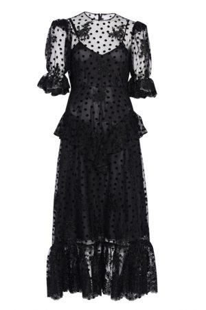 Чёрное полупрозрачное платье с флок-напылением polka dot