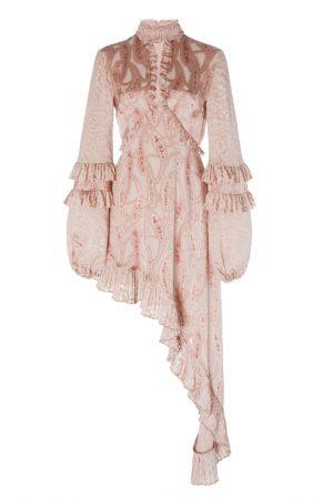 Асимметричное платье Liora в золотисто-пудровых тонах