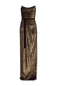 Драпированное платье оттенка красного золота