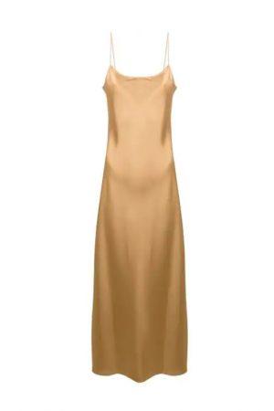 Золотистое платье на тонких бретелях