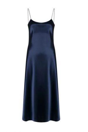 Черничное платье на тонких бретелях