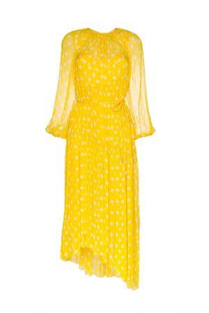 Ярко-желтое платье с принтом polka dot