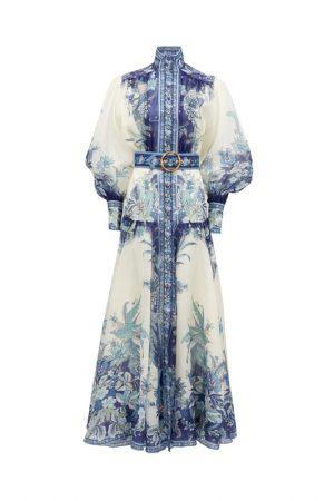 Шёлковое платье Glassy Billow с бело-голубым принтом