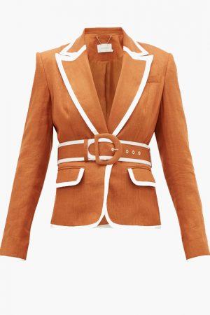 Льняной костюм с брюками-палаццо