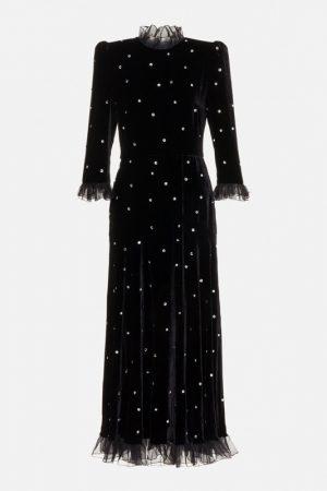 Чёрное бархатное платье с кристаллами