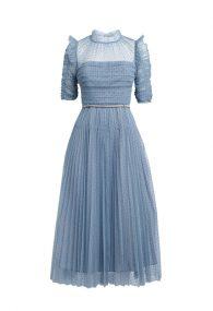 Небесно-блакитна сукня з флок напиленням polka dot