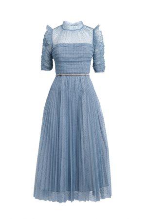 Небесно-голубое платье с флок напылением polka dot