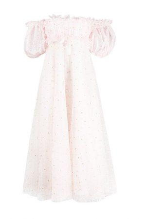 Платье нежно-лилового оттенка с флористической вышивкой