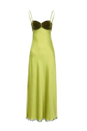 Платье лаймового оттенка с бархатным лифом