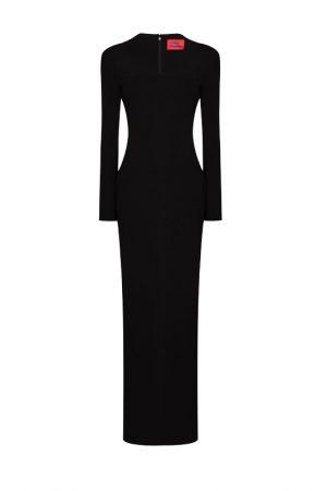 Чорна максі-сукня Clio з вирізом каре