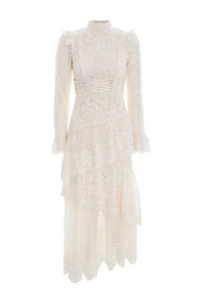 Кружевное асимметричное платье с мини-корсетом